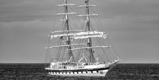 Tall Ship Stavros In Black And White By Glenn Kilpatrick
